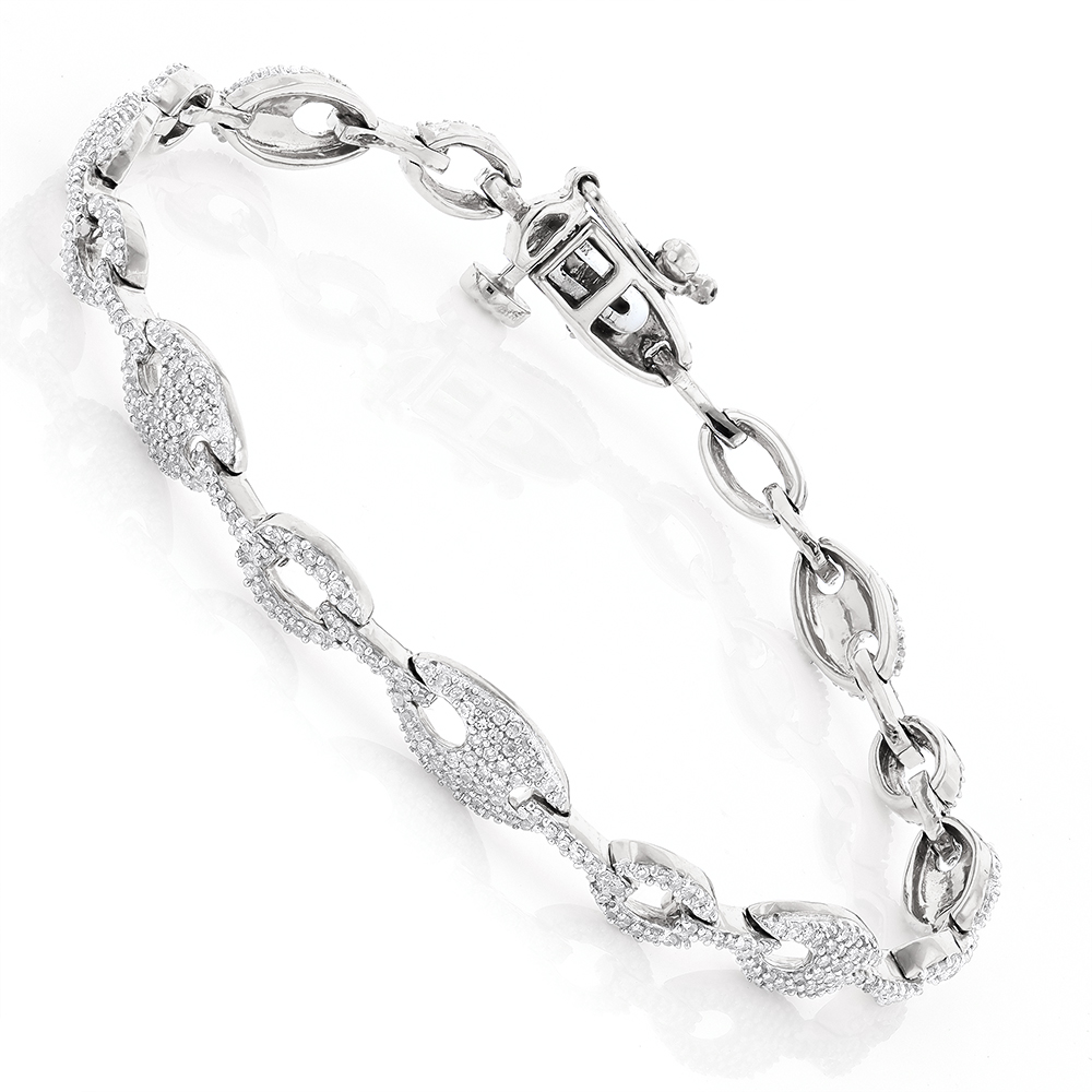 Pave Bracelets 14K Gold Ladies Diamond Bracelet 1.1ct White Image