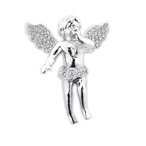 Pave Diamond Angel Pendant 14K Gold 0.88ct Small Angel Charm Main Image