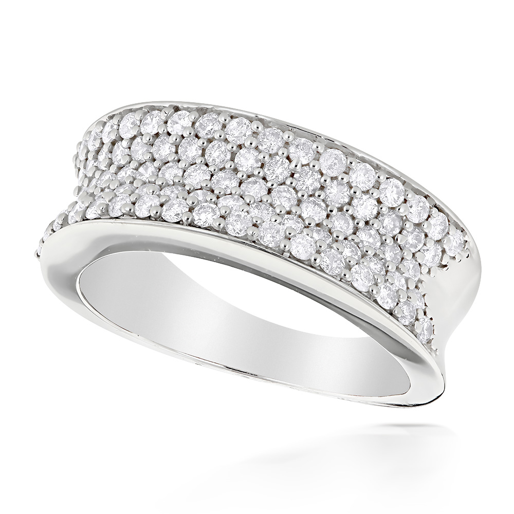 Pave Diamond Bands 14K Gold Round Diamond Band 1.20ct White Image