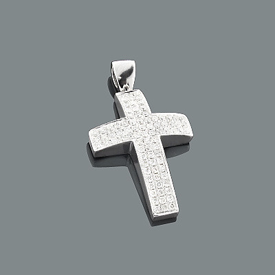 Pave Diamond Cross Pendant 0.92ct 14K