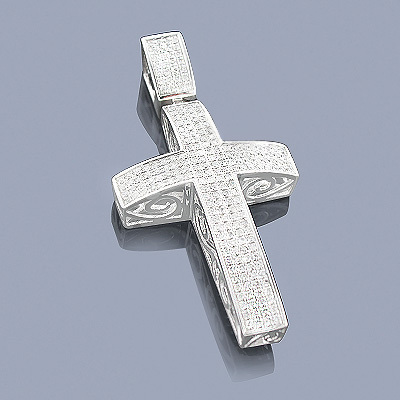 Pave Diamond Cross Pendant 1.48ct Sterling Silver main