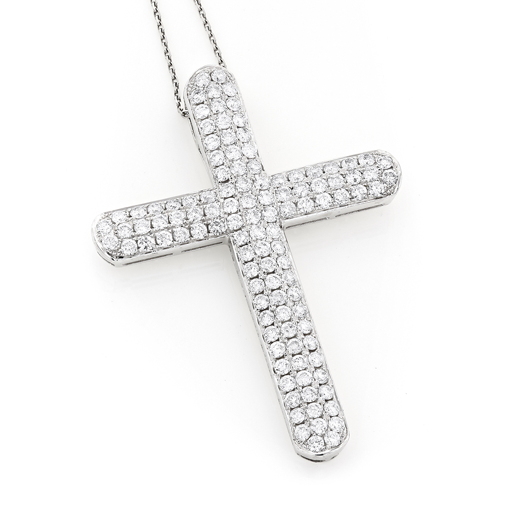 Pave Diamond Cross Pendant 4.06ct 14K White Image