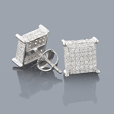 Pave Diamond Earrings 0.9ct 10K Gold Studs