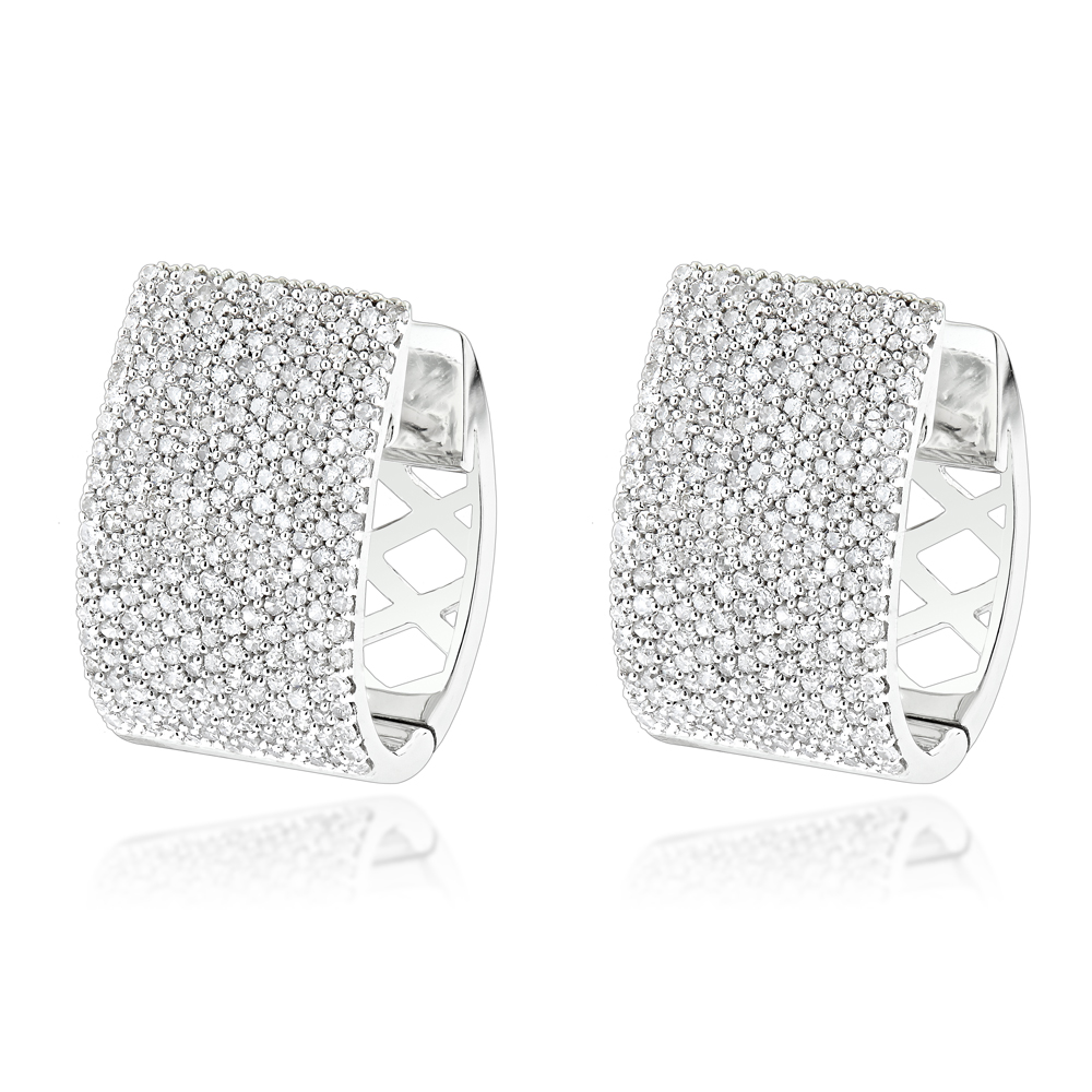 Pave Diamond Earrings for Women 14K Gold 1 Carat Small Wide Hoops White Image