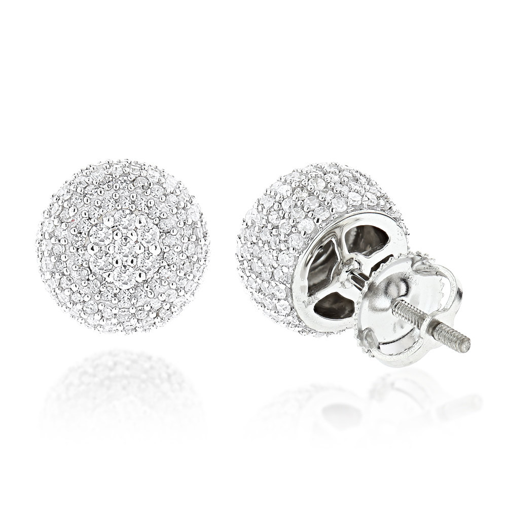 Pave Diamond Earrings 14K Gold Studs 1.32ct White Image