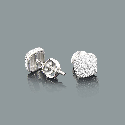 Pave Diamond Earrings in Sterling Silver 0.05ct Main Image