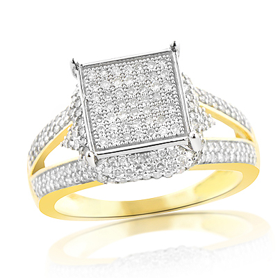 Affordable Pave Diamond Engagement Ring 14K Gold 0.75ct Main Image