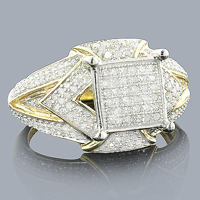 Affordable Pave Diamond Engagement Ring 14K Gold 0.69ct Main Image