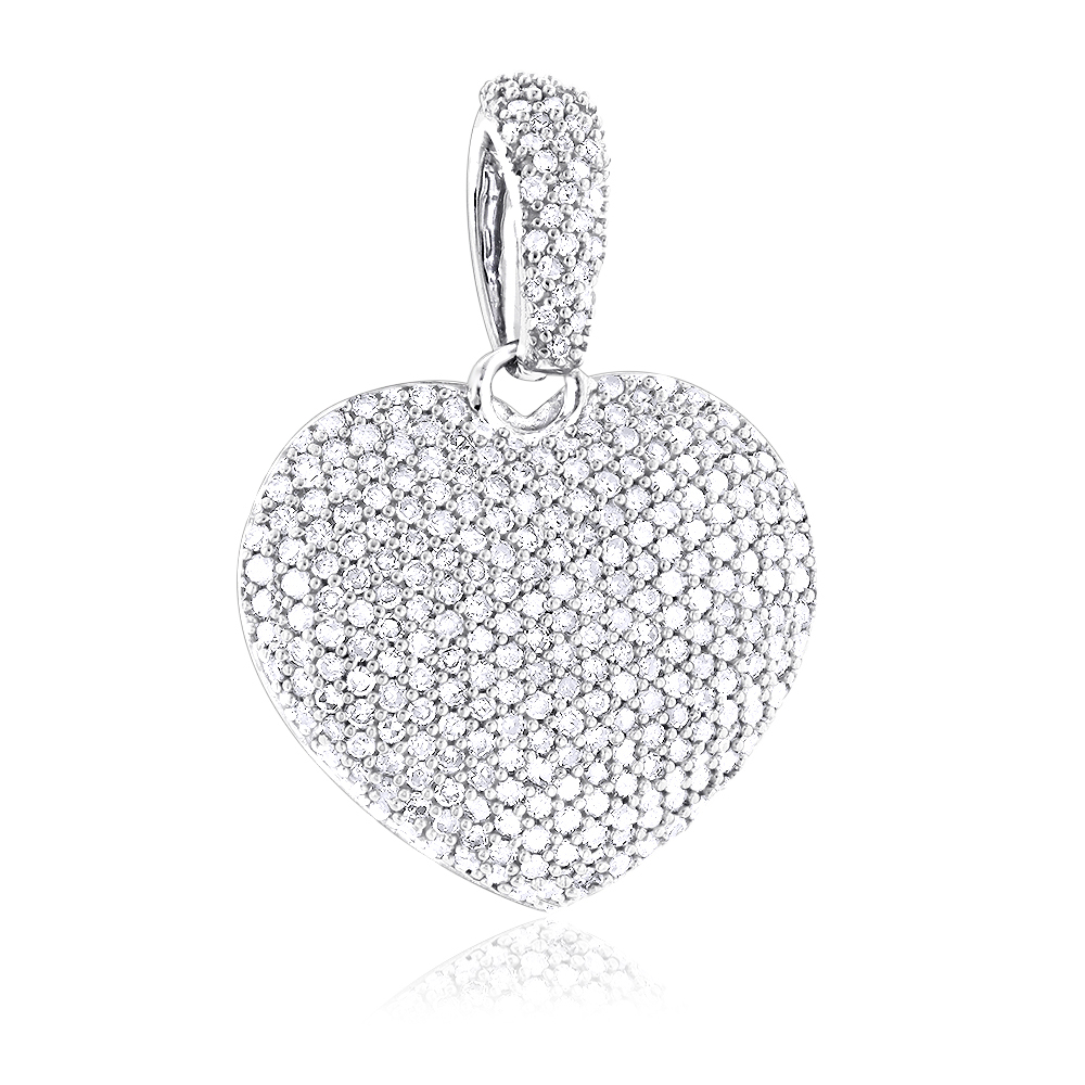 1 Carat Pave Diamond Heart Pendant 14K Gold White Image