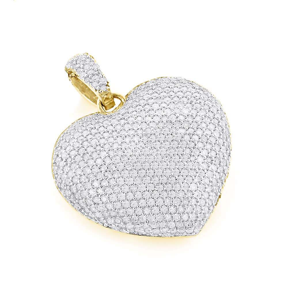 Pave Diamond Heart Pendant 14K Gold 2 carats Yellow Image