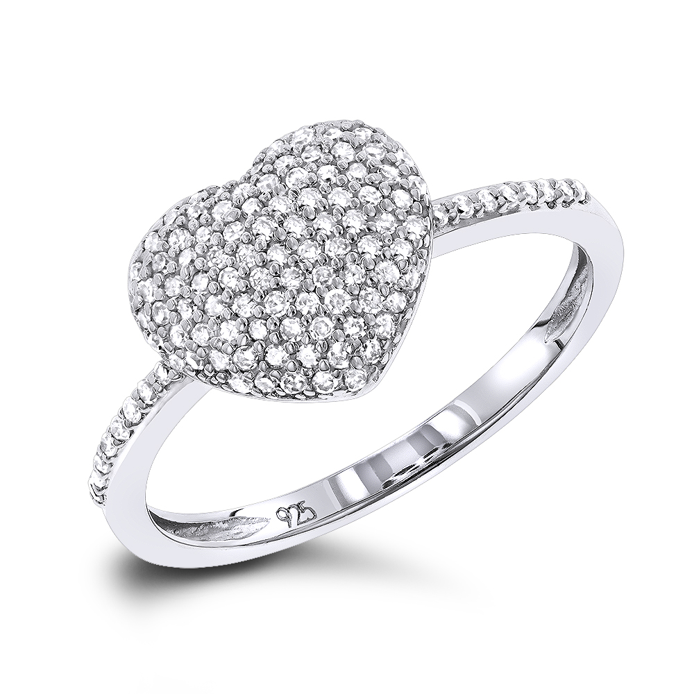 Ladies Pave Diamond Heart Ring in Sterling Silver 0.33ct Main Image