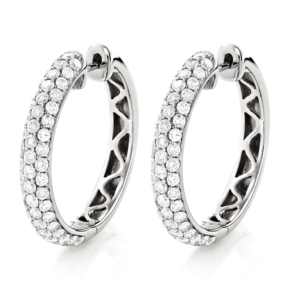 Large Pave Diamond Hoop Earrings 1 inch 14K Gold 2.5ct White Image