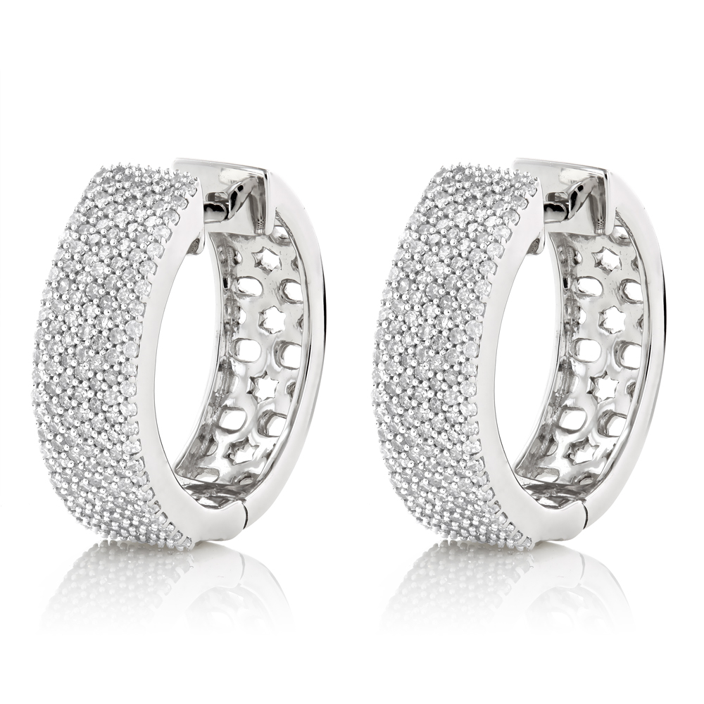 Pave Diamond Hoop Earrings 1.2ct 14K Gold White Image