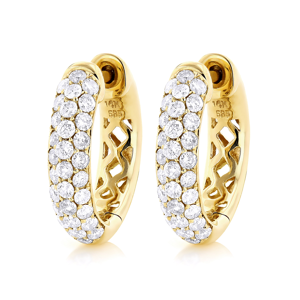 Pave Diamond Hoop Earrings 14K Gold 1 1/2ct