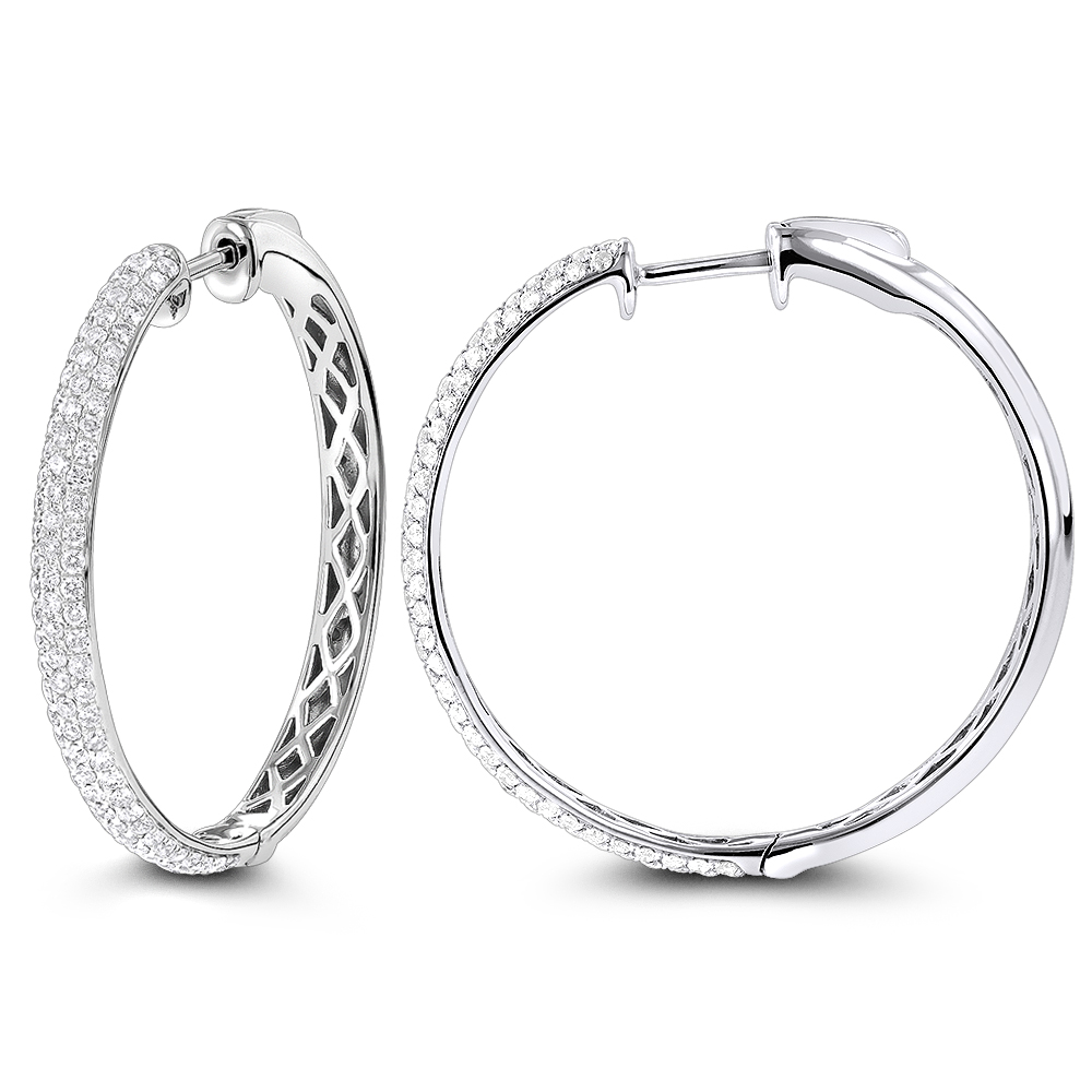 Pave Diamond Hoop Earrings 14K 2.25ct White Image