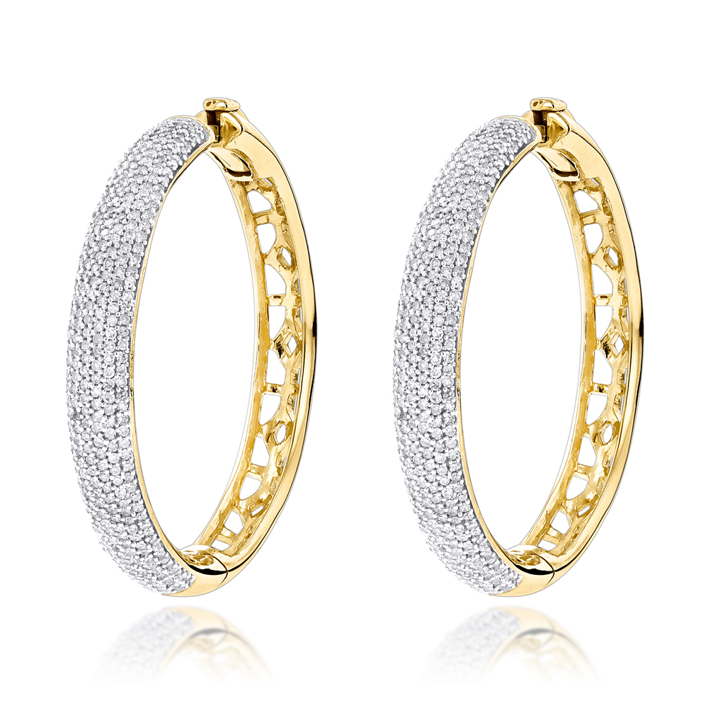 Pave Diamond Hoop Earrings 1.52ct 14K Gold Yellow Image