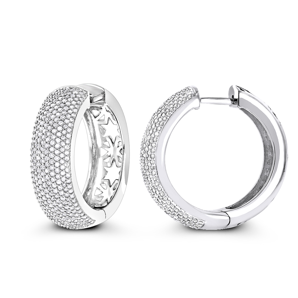 Pave Diamond Hoop Earrings 1.5ct 14K