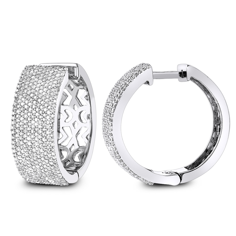 Pave Diamond Hoop Earrings 1.75ct 14K Gold White Image