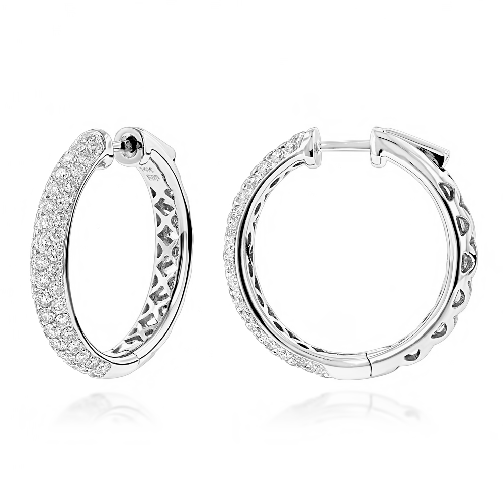 Pave Diamond Hoop Earrings 2.45ct White Image