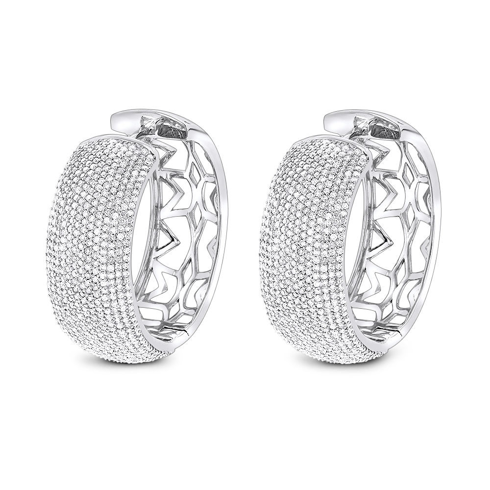 Pave Diamond Large Hoop Earrings 3.59ct 14K Gold White Image