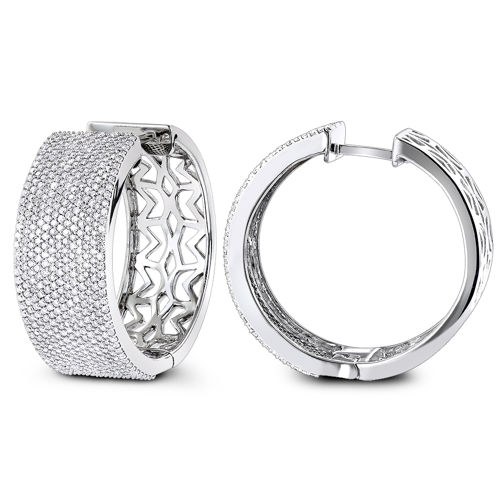Pave Diamond Large Hoop Earrings 3.25ct 14K
