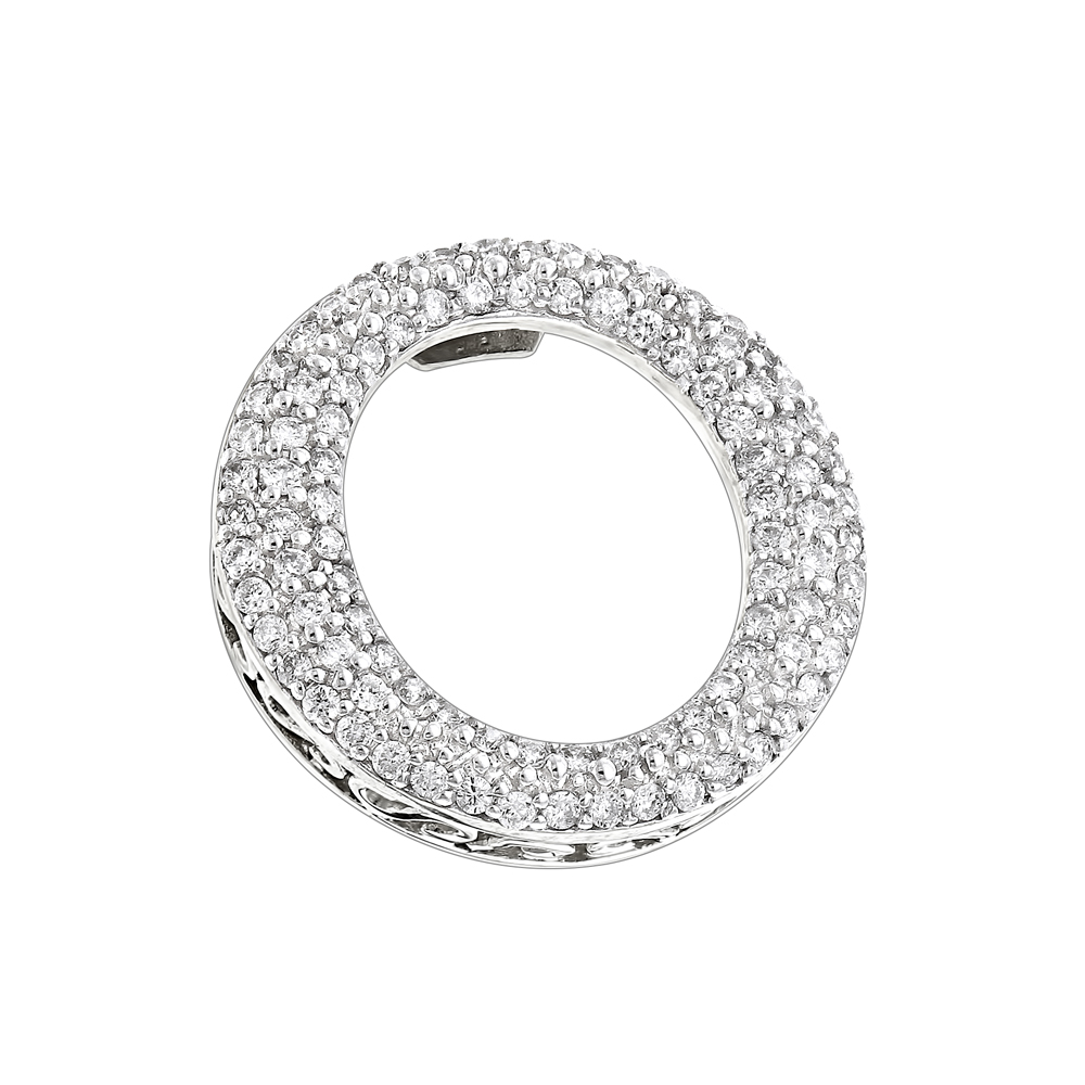 Pave Diamond O Pendant 0.4ct 14K Gold Circle Jewelry White Image