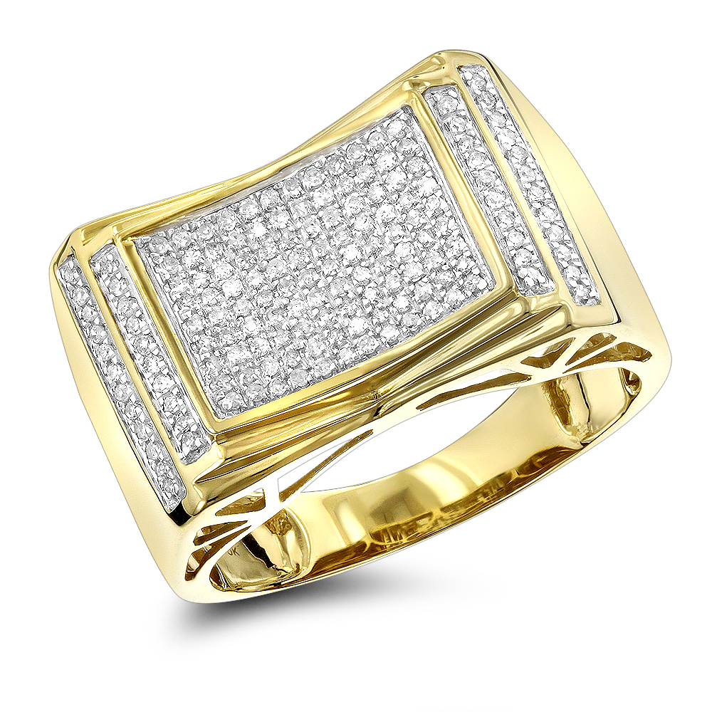 Pave Diamond Ring for Men 10k Yellow Gold White Gold Rose Gold 1/2ct Yellow Image