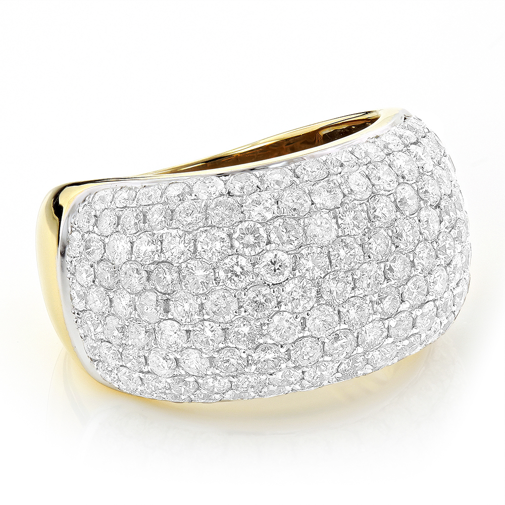 Pave Diamond Rings 14K Gold Round Diamond Band 4 ct Yellow Image