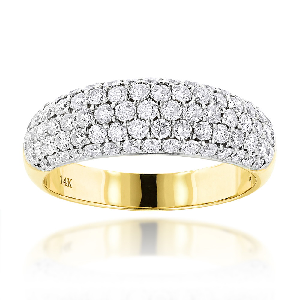 Pave Diamond Rings: 14K Gold Ladies Round Diamond Wedding Band 1.52ct Yellow Image