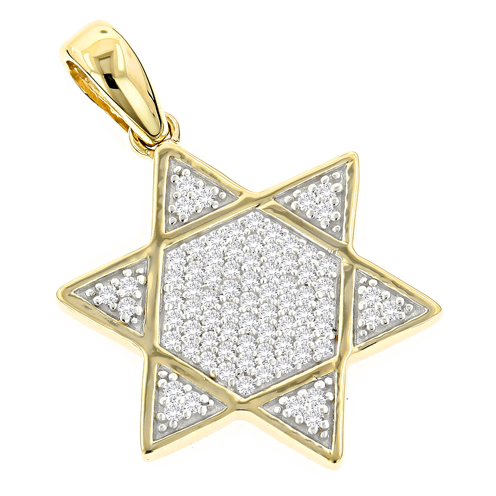 Pave Diamond Star of David Gold Unisex Pendant 14K Gold 0.25ct Yellow Image