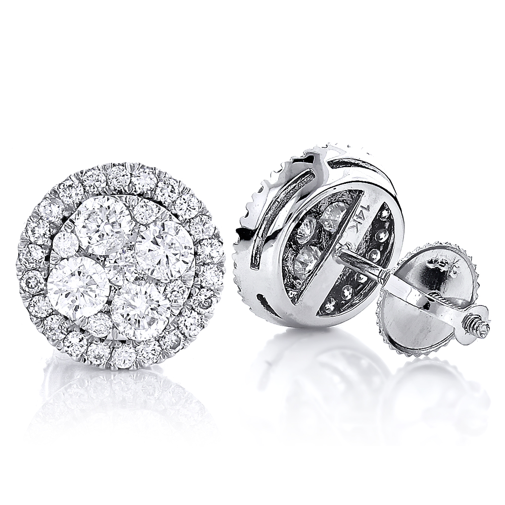 Pave Diamond Stud Cluster Earrings 1.46ct 14K Gold pave-diamond-stud-cluster-earrings-146ct-14k-gold_1