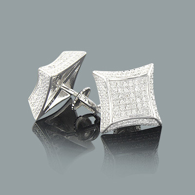 Pave Diamond Stud Earrings 0.21ct Sterling Silver