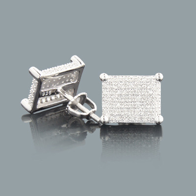 Pave Diamond Stud Earrings 0.37ct Sterling Silver Main Image