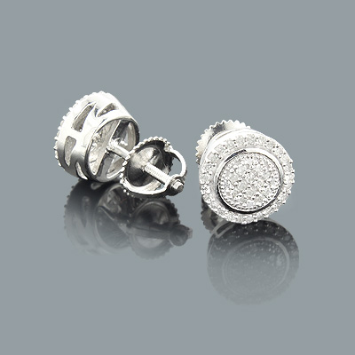Pave Diamond Stud Earrings in Sterling Silver 0.26ct