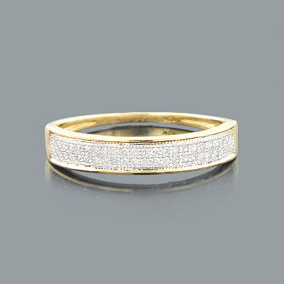 Thin Pave Diamond Wedding Band 0.23ct 10K Gold Main Image