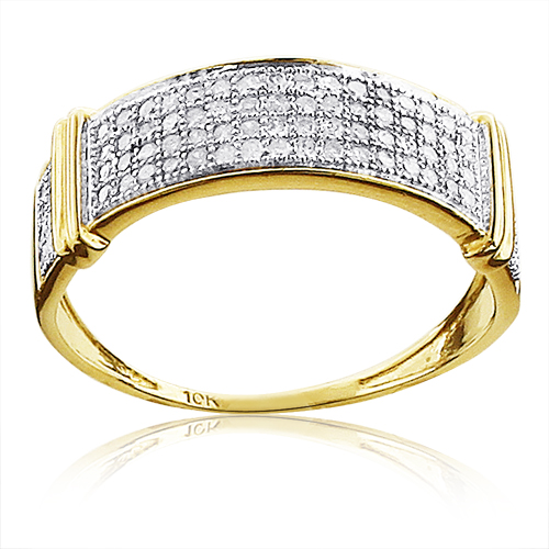 Pave Diamond Wedding Bands for Women 0.33ct 10K Gold