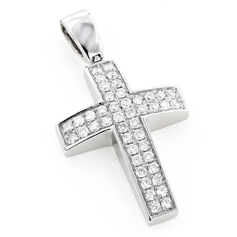 Pave Gold Diamond Cross Pendant 0.5ct 14K Gold White Image