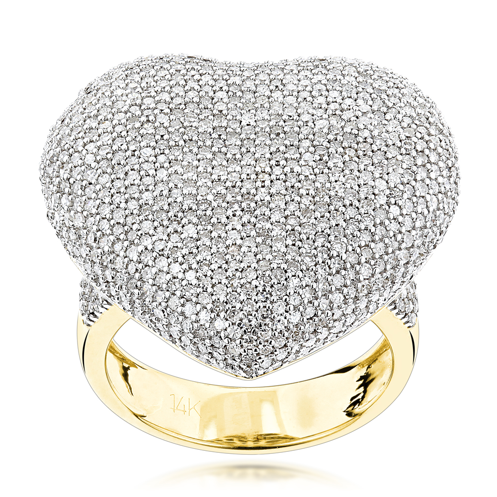 Pave Puffed Diamond Heart Ring 2.5ct 14K Gold Yellow Image