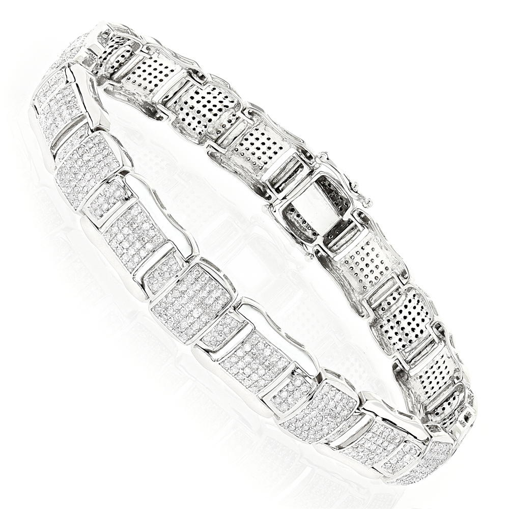 Pave Real Diamond Bracelet 10K Gold 4.71ct White Image