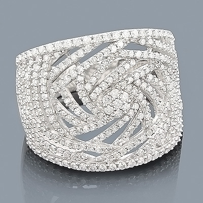 Pave Rings: 14K Gold Ladies Diamond Ring 1.35ct