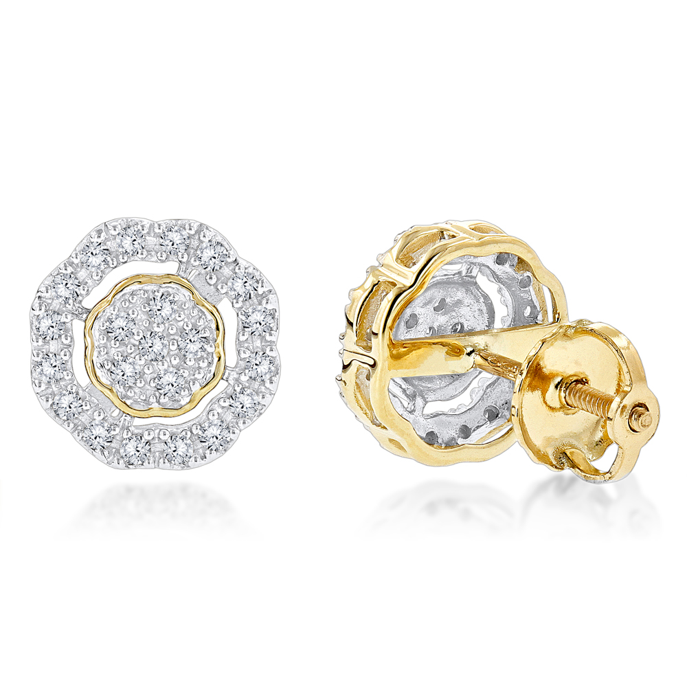 Pave Round Diamond Earrings 0.28ct 10K Gold Yellow Image