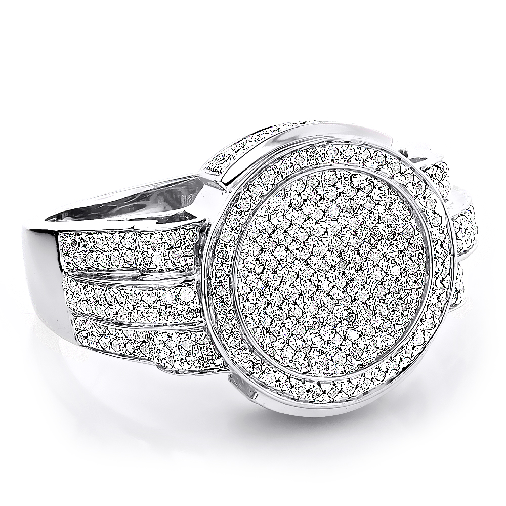 Pave Round Diamond Rings For Men 1 15ct 10K Gold Pinky Ring
