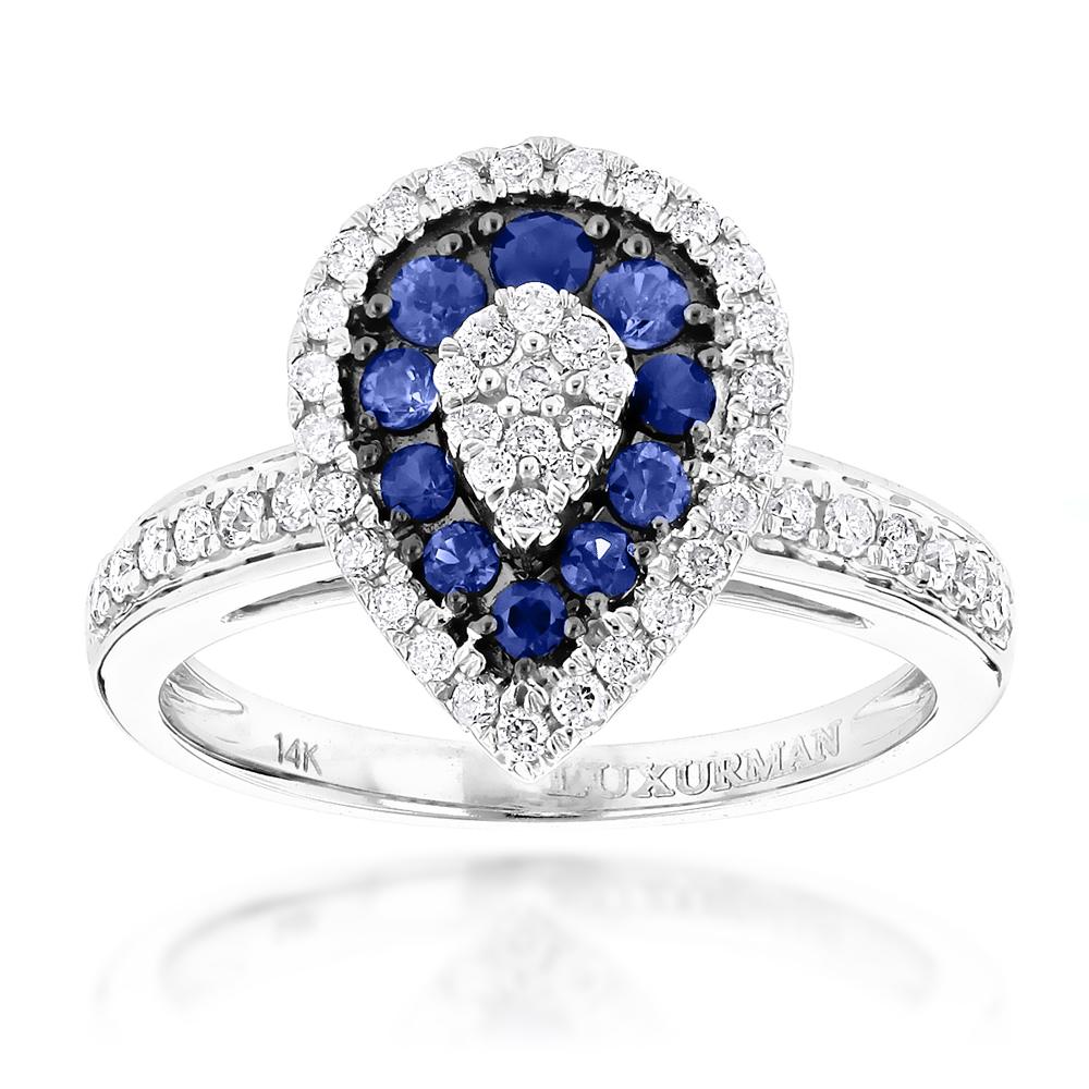 Pear Shape Design Sapphire and Diamond Engagement Ring for Women 1 Carat TW White Image