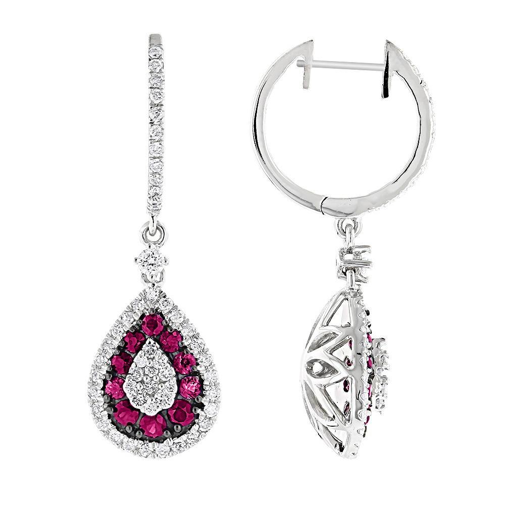 Pear Shape Diamond and Ruby Earrings for Women Drop Design 14K Gold 2tcw White Image