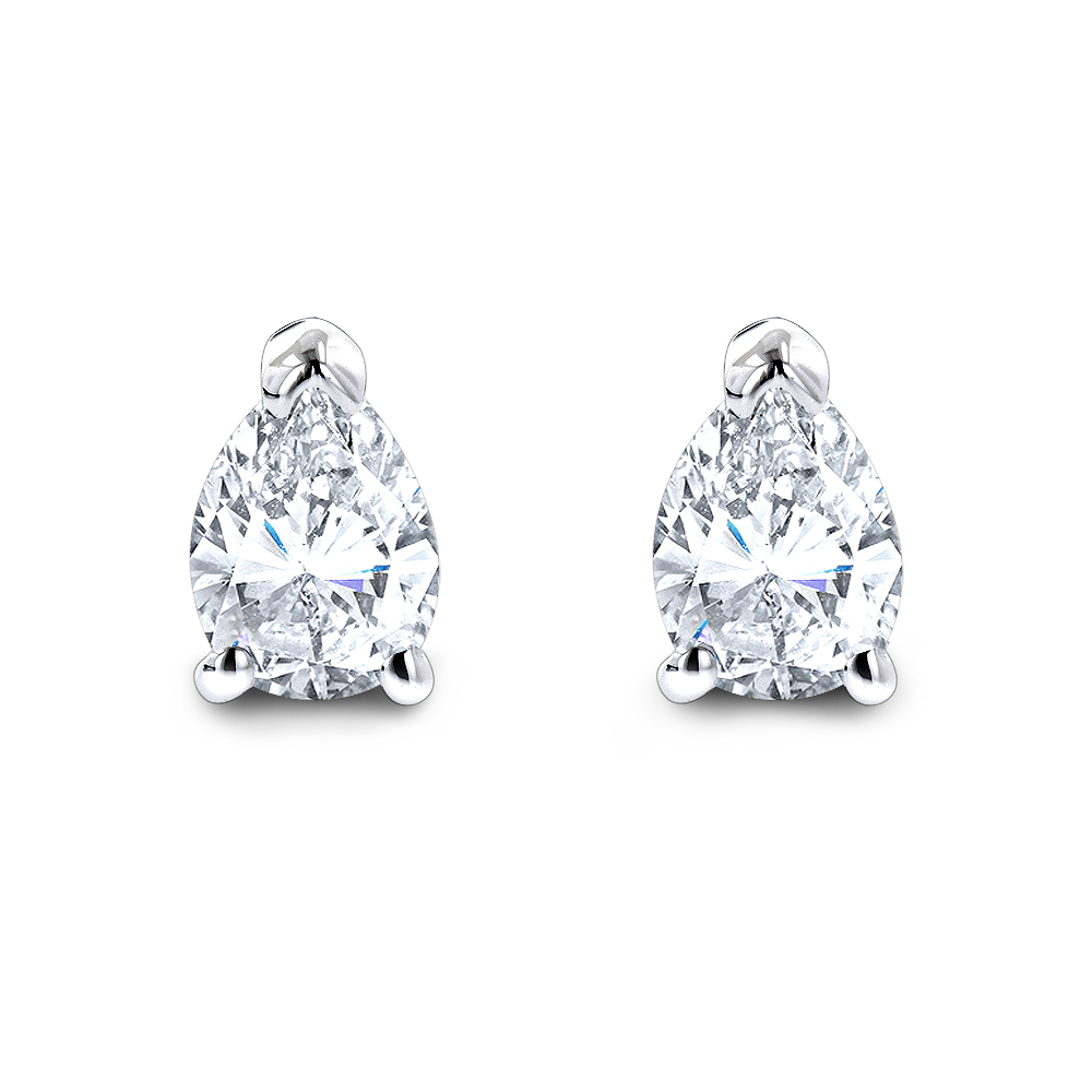 Pear Shape Diamond Stud Earrings 3/4 Carat 14k Gold 3 Prong Setting White Image