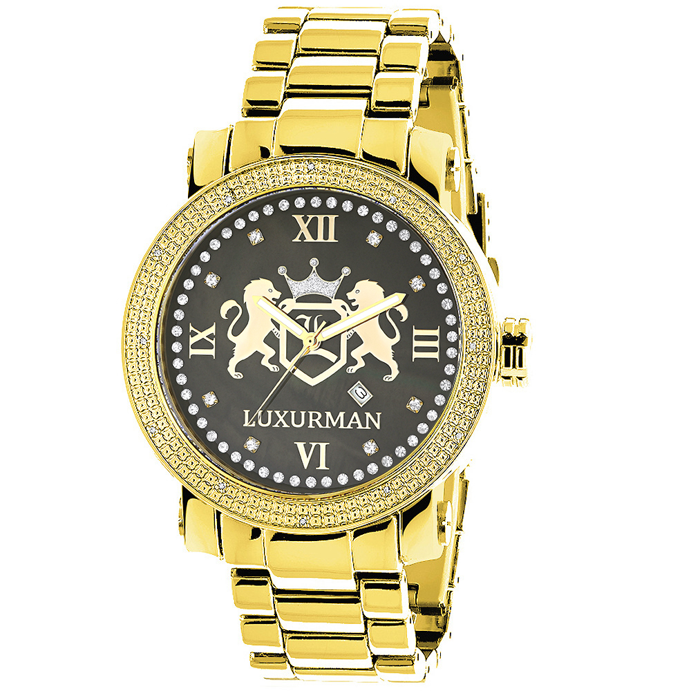 Yellow Gold Plated Watches: Large Mens Diamond Watch Luxurman Phantom