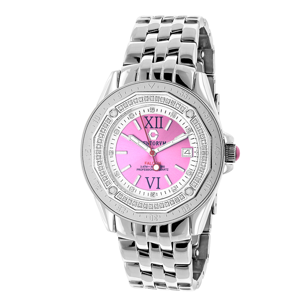 Pink Watches: Ladies Diamond Watch by Centorum 0.50ct Midsize Falcon Main Image