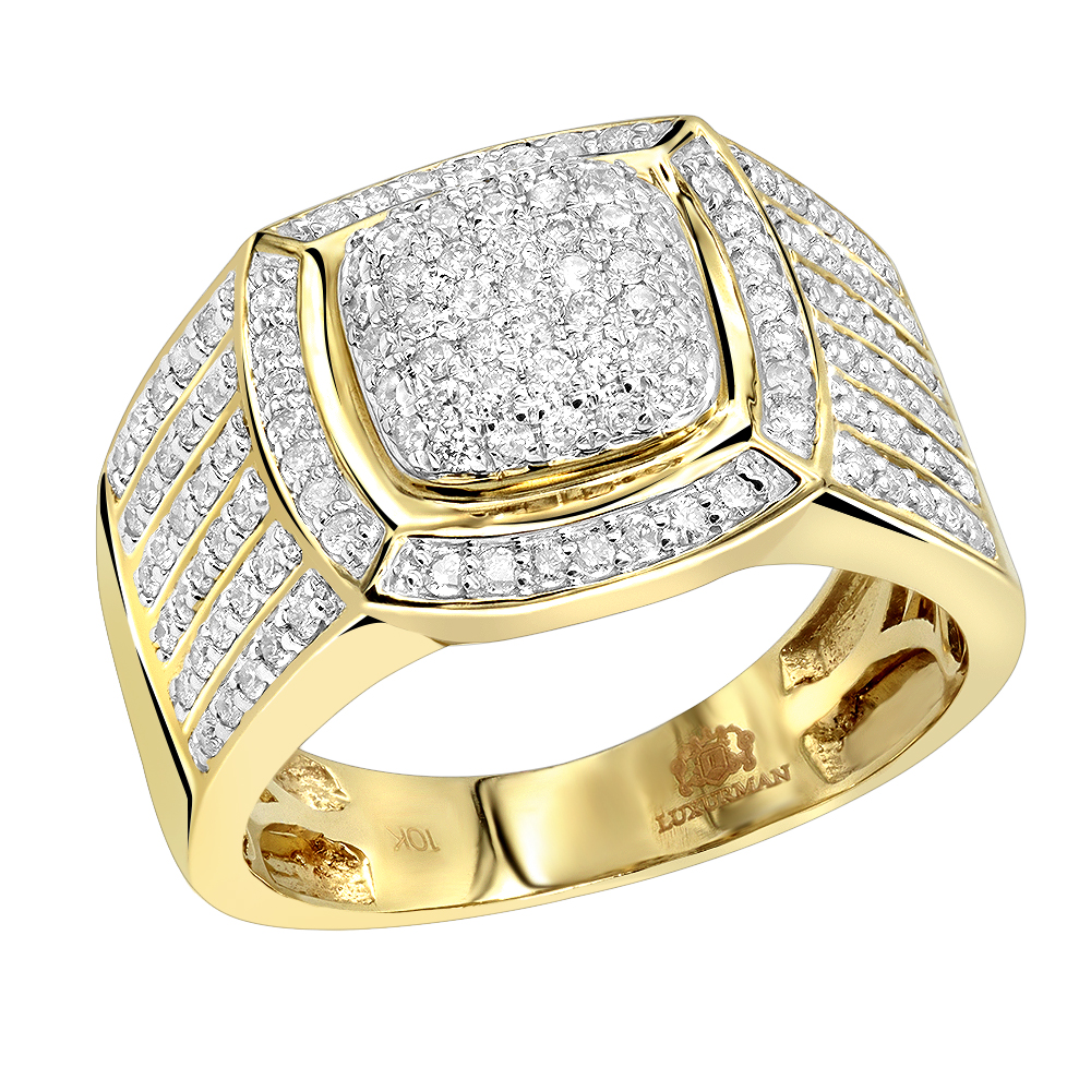 Pinky Rings: 1 Carat Men's Diamond Ring by Luxurman