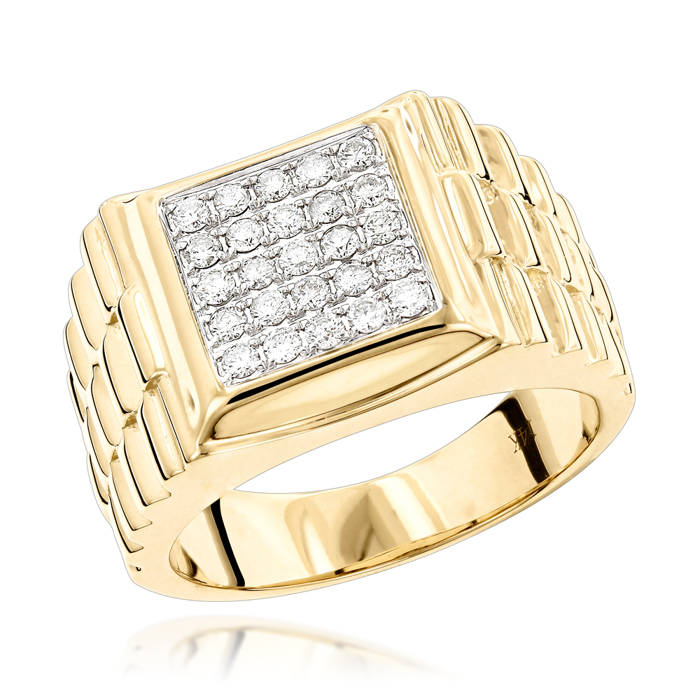 pinky rings mens diamond gold ring by luxurman 14k. Black Bedroom Furniture Sets. Home Design Ideas