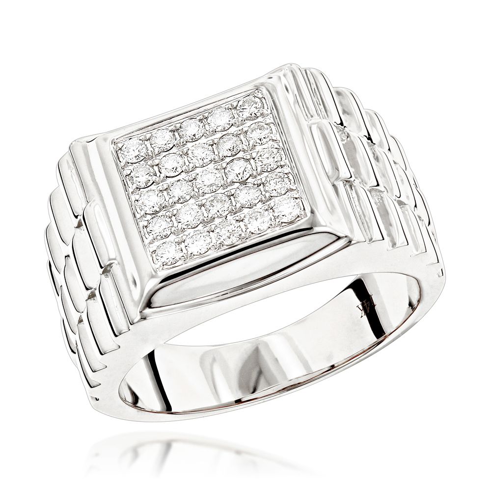 Pinky Rings: Square Mens Diamond Jubilee Ring by Luxurman 0.55ct 14K Gold White Image